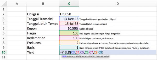 Perhitungan Yield Obligasi Menggunakan Excel