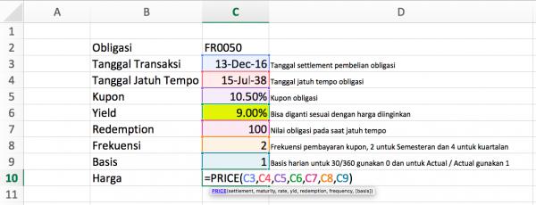 Menghitung Harga Obligasi Dengan Excel