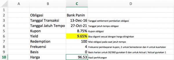 Perhitungan Harga Wajar Obligasi Korporasi Excel